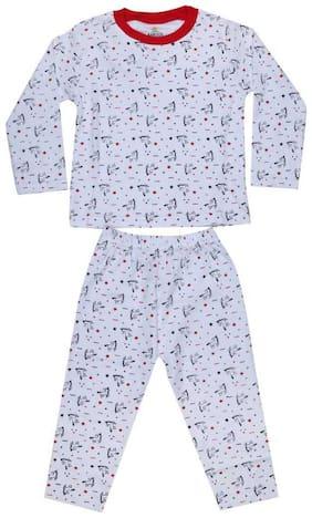 KABOOS Cotton Printed White Color Top & Pyjama Set For Boy