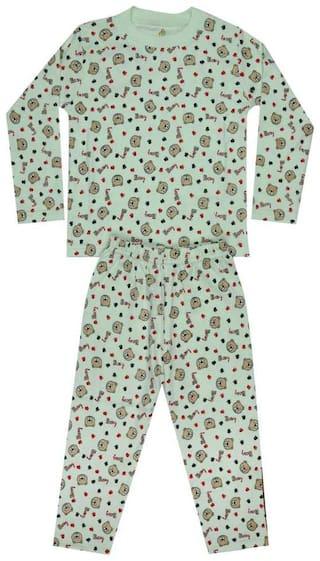 KABOOS Cotton Printed Green Color Top & Pjyama Night Wear For Boy