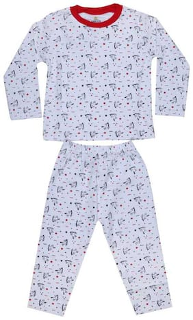 KABOOS Cotton Printed White Color Top & Pjyama Night Wear For Boy