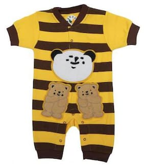 KABOOS Unisex Cotton Striped Body suit - Yellow & Brown