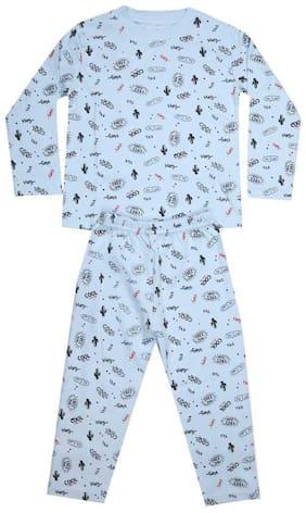 KABOOS Cotton Printed Blue Color Top & Pyjama Set For Boy