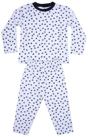 KABOOS Cotton Printed Blue Color Top & Pyjama Set For Boy