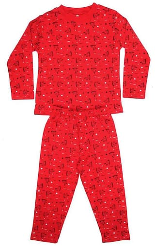 KABOOS Cotton Printed Red Color Top & Pjyama Night Wear For Boy