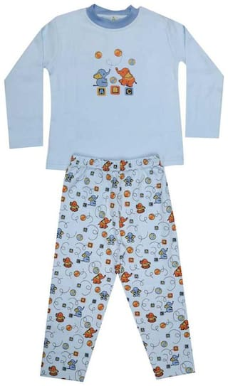 KABOOS Cotton Printed Blue Color Top & Pjyama Night Wear For Boy
