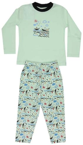 KABOOS Cotton Printed Green Color Top & Pyjama Set For Boy
