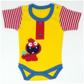 KABOOS Unisex Cotton Solid Body suit - Yellow & Red