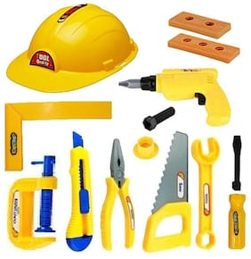 Kaizen Enterprises Construction Equipments Tools Toy Set for Kids Boys - 13 Piece Engineering Workshop Tool kit with Safety Helmet & Equipment