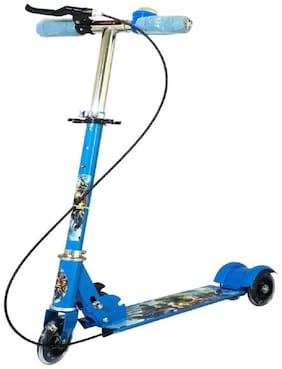 Kajal Enterprise Kids 3 Wheel Foldable Scooter with Height Adjustment & Led Light on Wheel(Break and Bell)- Blue