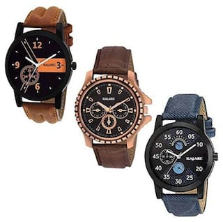Analogue Black Dial Boy's Watch Leather Strap Combo Pack of 3