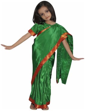 Kaku Fancy Dresses Indian Traditional Wear Pre-Stiched Saree With Blouse -Green, 3-4 Years, For Girls