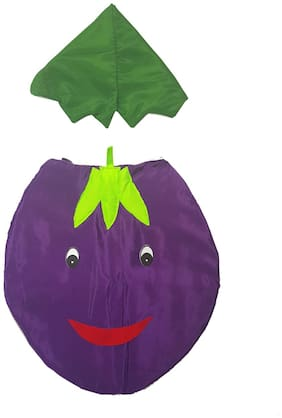 Kaku Fancy Dresses Brinjal Cutout With Cap For Kids