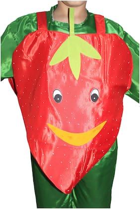 Kaku Fancy Dresses Strawberry Cutout With Cap For Kids