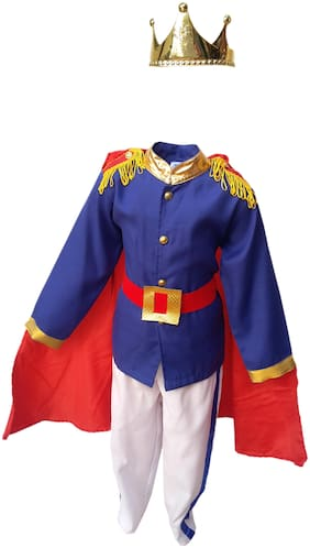 Kaku Fancy Dresses Fairy Tales Prince Charming Costume -White & Blue, 5-6 Years, For Boys