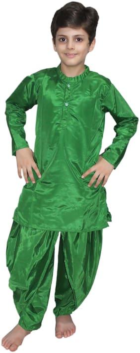 Kaku Fancy Dresses Indian Traditional Wear Green Dhoti Kurta Costume -Green, 7-8 Years, For Boys