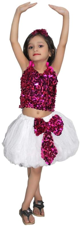 Kaku Fancy Dresses Western Dance Dress Skirt Top Costume Set -Magenta-Silver, 7-8 Years, For Girls
