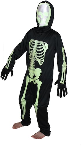 Kaku Fancy Dresses Glow In Dark Skeleton Costume -Black-Green, 5-6 Years, For Boys