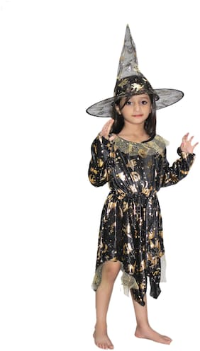 Kaku Fancy Dresses Witch Cosplay Halloween Costume -Black, 5-6 Years, For Girls