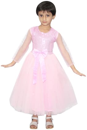 Kaku Fancy Dresses Pink Gown Fairy Tales Costume  Pink