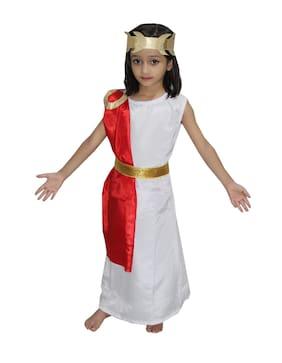 Kaku Fancy Dresses International Wear Egyptian Queen Cleopatra Costume -White, 15-16 Years, For Girls