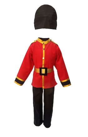 Kaku Fancy Dresses British Guard Costume -Red-Black, 5-6 Years, For Boys