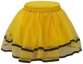Kaku Fancy Dresses Tu Tu Skirt Costume -Yellow, 7-8 Years, For Girls