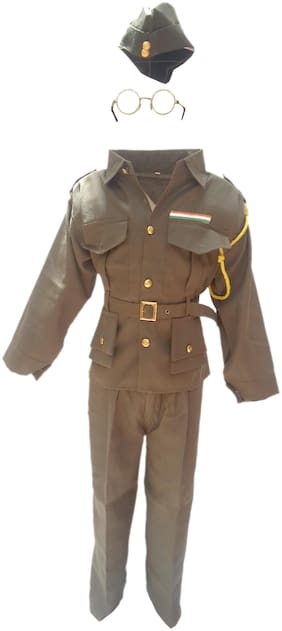 Kaku Fancy Dresses National Hero/ Freedom Figter Subhash Chandra Bose Costume -Green, 4-5 Years, For Boys