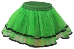Kaku Fancy Dresses Tu Tu Skirt Costume -Green, 3-4 Years, For Girls