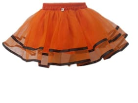 Kaku Fancy Dresses Tu Tu Skirt Costume -Orange, 7-8 Years, For Girls