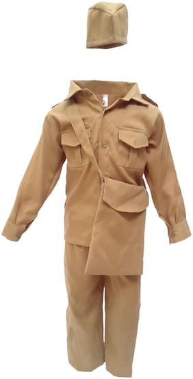 Kaku Fancy Dresses Our Community Helper Postman Costume -Khaki, 3-4 Years, For Boys & Girls