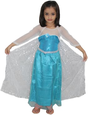 Kaku Fancy Dresses Fairy Tales Character Princess Elsa Gown Costume -Blue, 3-4 Years, For Girls