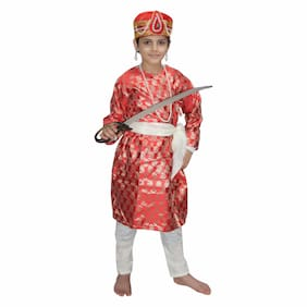 Kaku Fancy Dresses The Great Mughal King Akbar Costume/ Indian Historical Character Costume -Red, 7-8 Years, For Boys