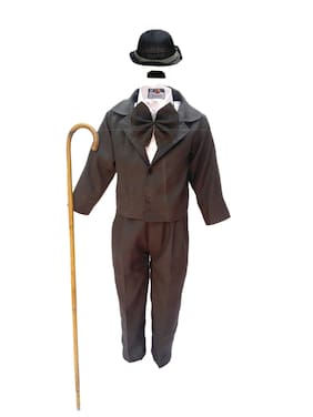 Kaku Fancy Dresses Comic Character Charlie Chaplin Costume -Black & White, 7-8 Years, For Boys