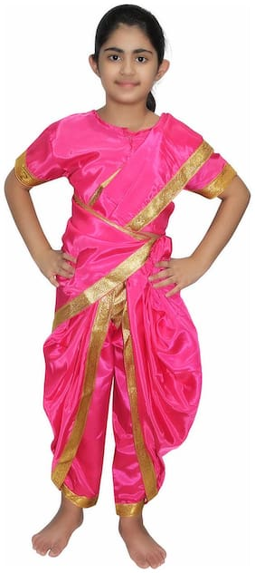 Kaku Fancy Dresses Indian Traditional Wear Marathi Girl Costume -Magenta, 2-3 Years, For Girls