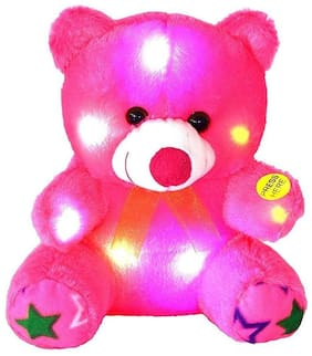Kanchan Toys Pink Teddy Bear - 30 cm , With colored led light