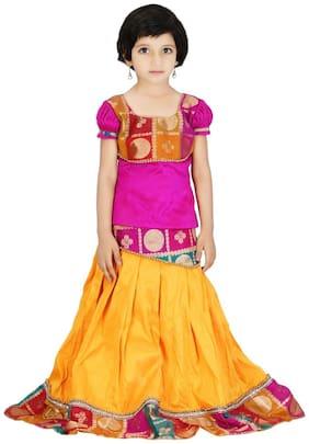 KANCHOO Girl's Silk Printed Short sleeves Lehenga choli - Multi