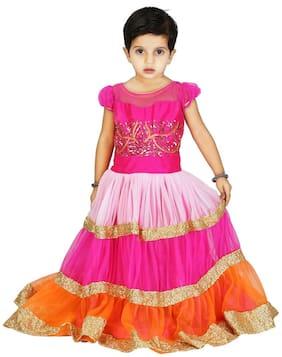 Kanchoo Girls Lehenga Choli Western Wear Self Design Lehenga Choli