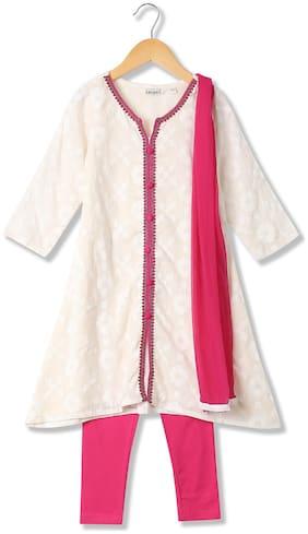 Karigari Baby girl Cotton Solid Kurti & salwar set - Multi