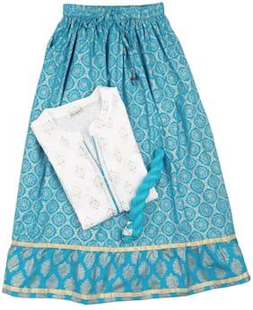 Karigari Girl's Cotton Printed Full sleeves Kurti & salwar set - Multi