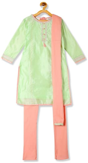 Karigari Girl's Nylon Self design 3/4th sleeves Kurti & salwar set - Multi