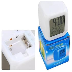 KARP 7 Colour Change Digital Glowing LCD Alarm Clock with Date, Time, Temperature and Alarm Sleeping Function