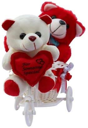 KASHISH GIFT GALLERY White & Red Teddy Bear - 20 cm