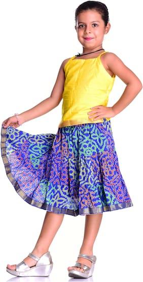 Kastiel Cotton Dress Top & Skirt Two Piece Set for Girls