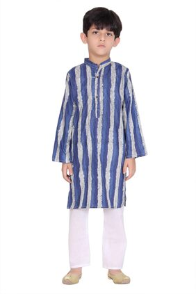 KASTIEL Boy Cotton Printed Kurta Pyjama Set - Blue