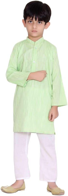 KASTIEL Boy Cotton Printed Kurta pyjama set - Green