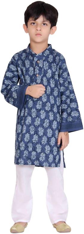 Kastiel Cotton Self Printed Blue Kurta Payajama For Boys