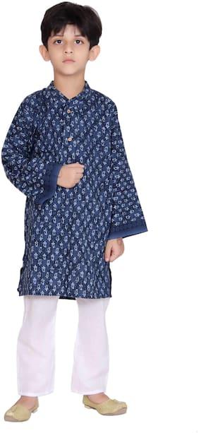 KASTIEL Boy Cotton Printed Kurta pyjama set - Blue