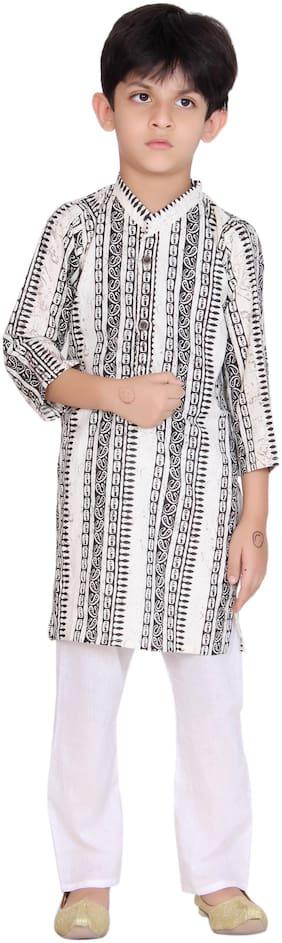 KASTIEL Boy Cotton Printed Kurta pyjama set - Black