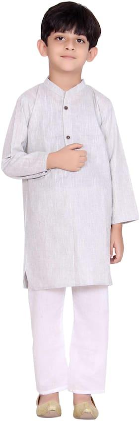 KASTIEL Boy Cotton Printed Kurta pyjama set - Grey
