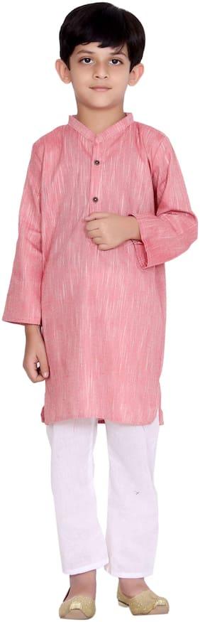 KASTIEL Boy Cotton Printed Kurta pyjama set - Pink