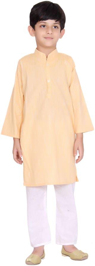 KASTIEL Boy Cotton Printed Kurta pyjama set - Yellow